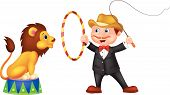 picture of lion  - Vector illustration of Cartoon Lion Tamer with lion - JPG
