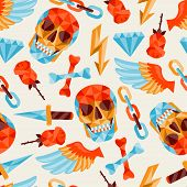 stock photo of cranium  - Seamless background with skull and elements - JPG