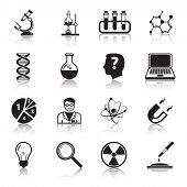 image of atom  - Chemistry or biology science icons set of test tube light bulb atom and pipette for school education isolated vector illustration - JPG