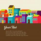 stock photo of animated cartoon  - Flat design modern illustration stylish colors of cartoon town - JPG