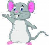 stock photo of mouse  - Vector illustration of Cute mouse cartoon waving - JPG