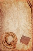 Grunge Texture Of Old Book Paper Sheet , Hemp Rope And Cardboard Blank With Space For Your Text