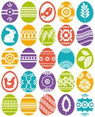 picture of bird egg  - set of 25 colour easter eggs vector illustration - JPG