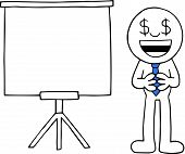 stock photo of greedy  - Hand drawn cartoon businessman happy and greedy with dollar money eyes beside standing white board - JPG