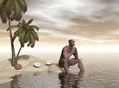 picture of homo  - One single homo erectus sitting alone on a beach island next to coco nuts and thinking - JPG