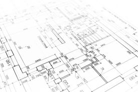image of reconstruction  - House building construction plan as background - JPG