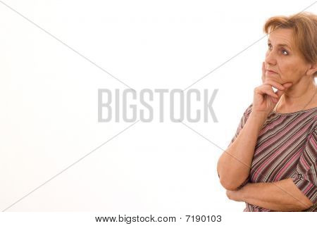older woman  in a black dress on white