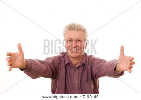 Senior  Man Gesturing A Thumbs Up Isolated On White