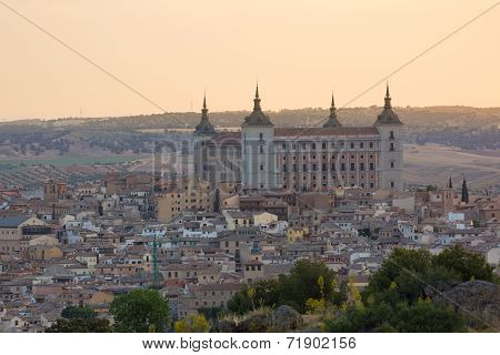 Historic town of Toledo with fortress Alcazar, Spain