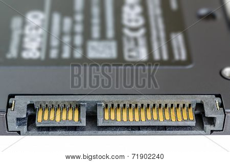 Solid State Drive Ssd Sata Connector Isolated On White