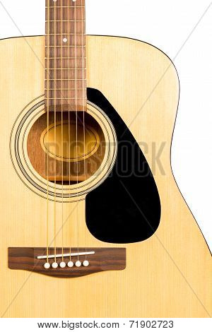 Classical Acoustic Guitar Fragment With Strings And Soundboard Rosette