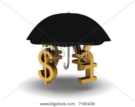Umbrella with monetary symbols