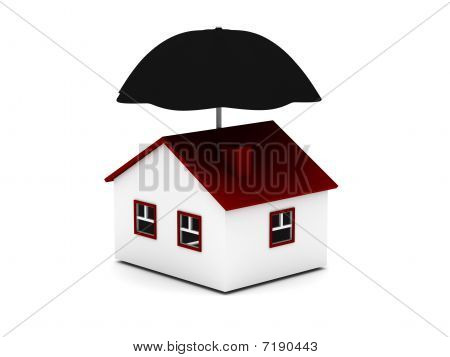 house with umbrella