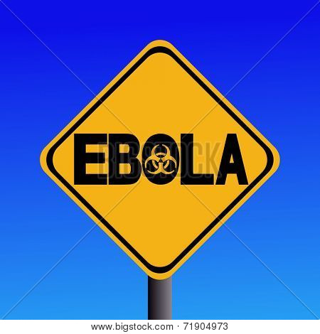 Danger Ebola biohazard sign on blue illustration