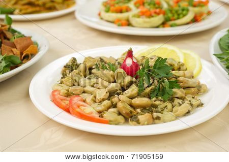 Lebanese food of Cooked Broad Beans
