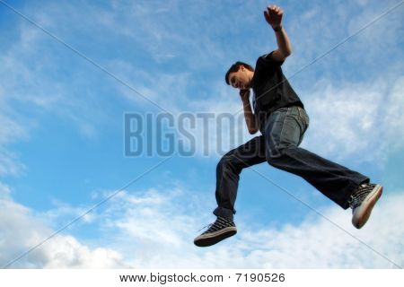 Man Talking On Phone Midair