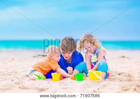 Three Kids On A Beach