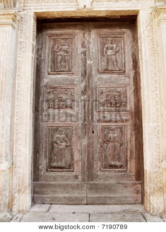 Front door of the Lanfranchi Palace. Matera. Basilicata.