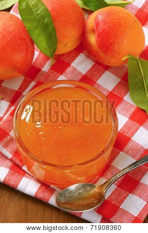 ripe apricots and bowl of apricot jam on checkered dishtowel