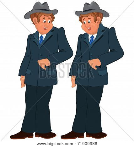 Happy Cartoon Man Standing In Gray Suite And Hat