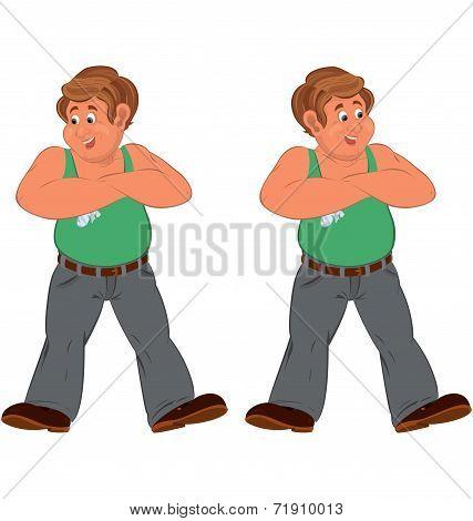 Happy Cartoon Man Standing In Green Sleeveless Top Injured