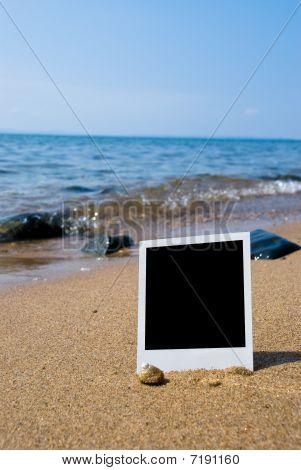 Photo Card On Sand Beach