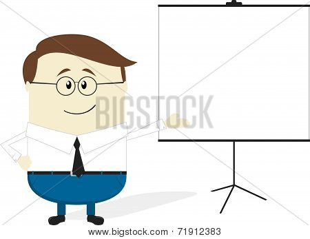 businessman cartoon with blank flip chart