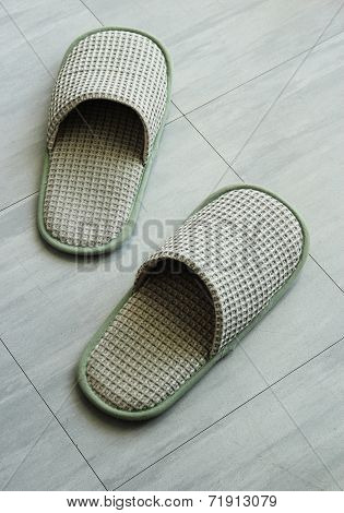 Slippers On The Floor Tile