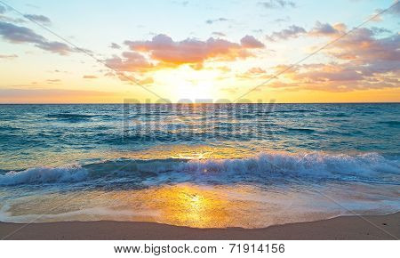 Sunrise over the ocean in Miami Beach Florida.