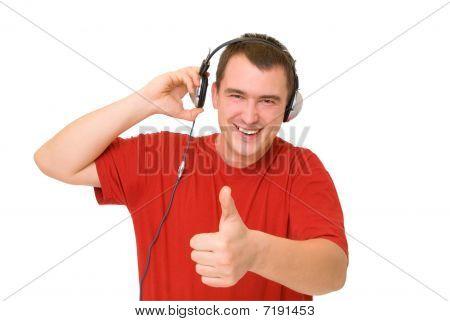Smile Man In Headphones