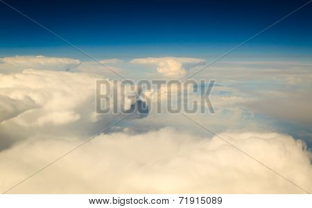 White Cloudy Sky. View From Airplane Flying In Clouds.