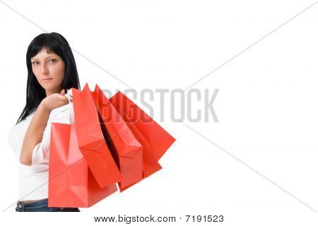 Serious Girl With Red Packets