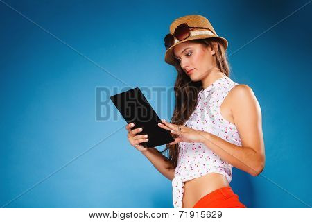 Girl Using Tablet Computer E-book Reader.
