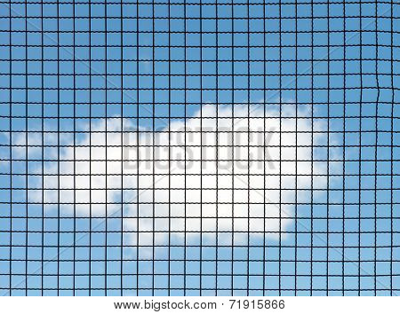 Metal mesh wire fence with blue sky and cloud