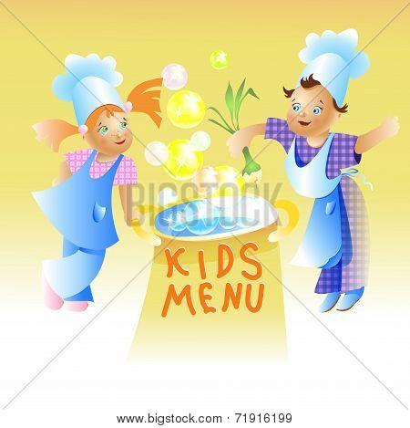 Kids Menu Card Design Child cartoon