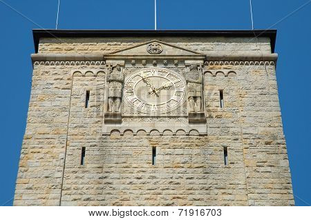 Clock On Emperor's Castle In Poznan, Poland