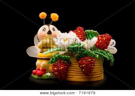 Beads  Red Strawberry With Bee
