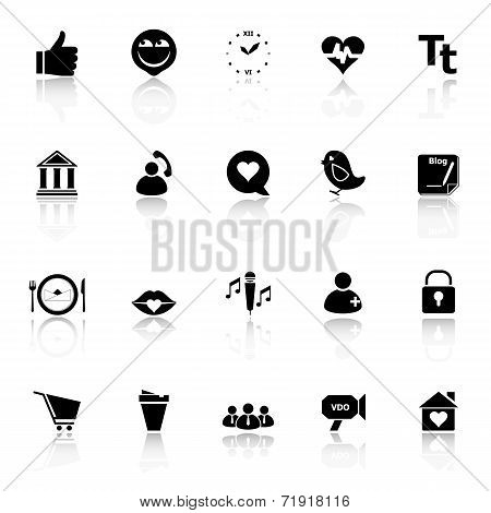 Chat Conversation Icons With Reflect On White Background