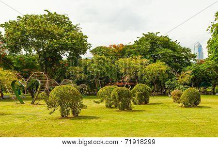 Grass Elephants in Lumpini park Bangkok Thailand
