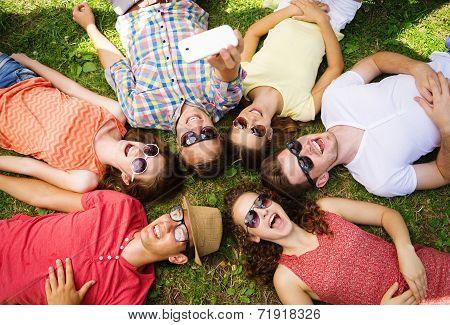 Friends having fun in park