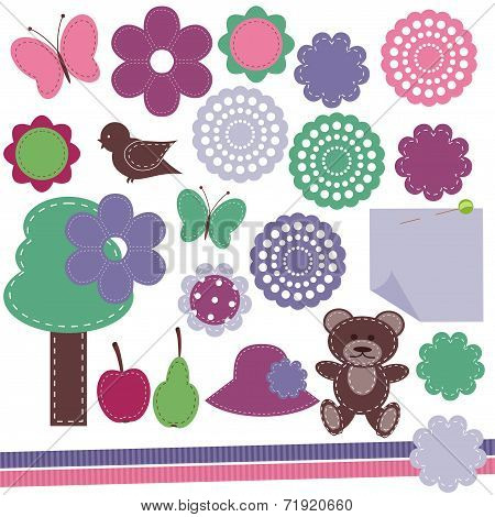 scrapbook objects on white background