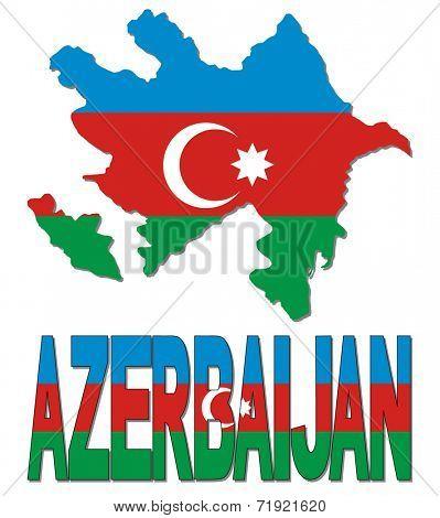 Azerbaijan map flag and text vector illustration