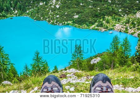 Alpin Lake Sorapis Italian Dolomites Stunning Landscape.