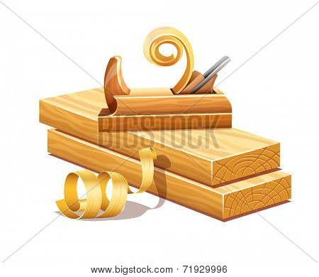 Rasped wooden boards by planer tool and filings sawdusts. Eps10 vector illustration. Isolated on white background