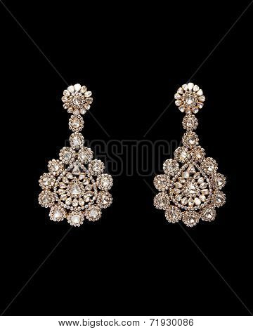 Close up of diamond earring