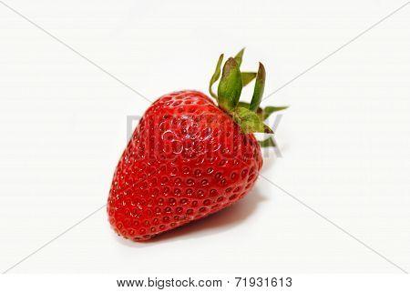 Fresh Organic Strawberry Isolated Over White