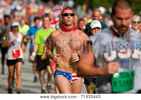 Man Runs Atlanta Road Race Wearing Patriotic Bikini