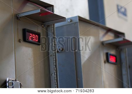 Close up of an Electric meter,Electric utility meters for an apartment complex or offshore oil