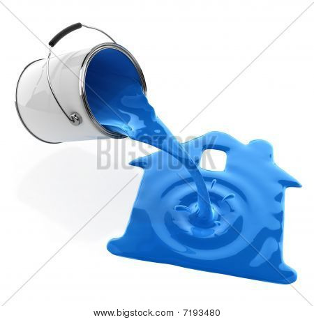 Blue Paint Pouring From Bucket In House Silhouette