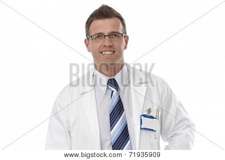 Close-up portrait of male doctor in lab coat and glasses, smiling happy.